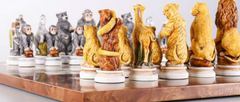 Animal Kingdom Exotic Elm Chess Set