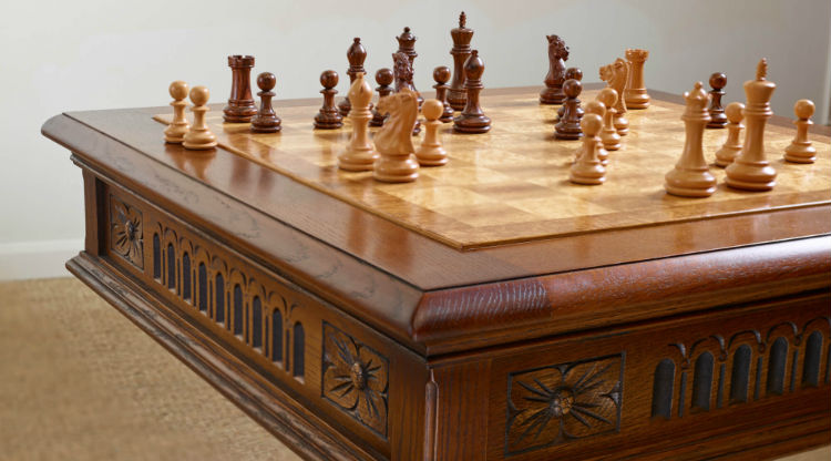 Antique Chess Table With Chess Pieces