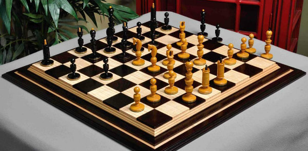 The Biedermeier Series Luxury Chess Pieces on A Chess Board