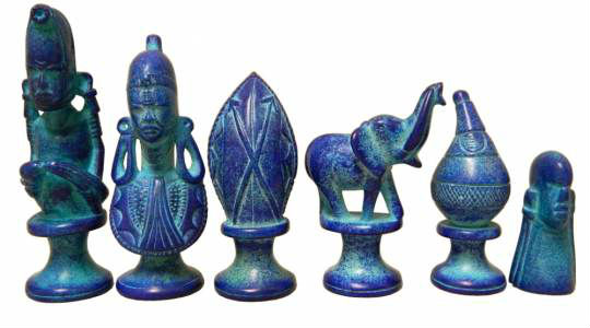 Black & Blue Soapstone African Tribe Chess Pieces - Blue