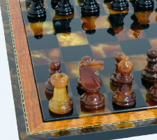 #2 Black & Brown Alabaster Chess Set with Wood Frame