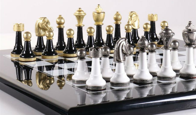 Black U0026 White Wood And Metal Chess Set