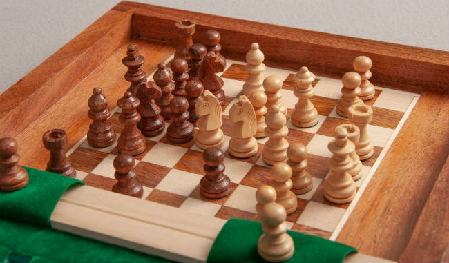 Book Wooden Travel Chess Set