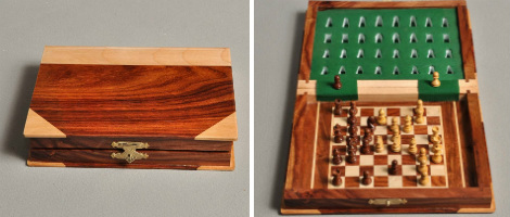 Book Wooden Travel Chess Set. Opened And Closed