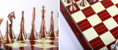 The Brass Art Deco Men Chess Set