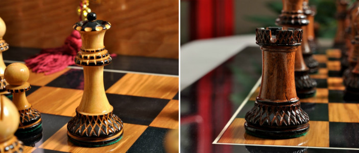 The Burnt Golden Rosewood Grandmaster Series Chess Pieces