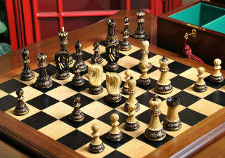 Burnt Zagreb'59 Series Chess Set, Box, & Board Combination