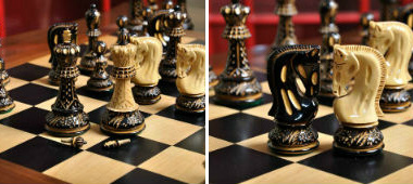 The Burnt Zagreb'59 Series Chess Pieces