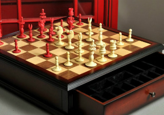 The Calvert Antique Chess Set & Board Combination