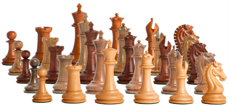 Camaratta Signature Series Cooke Luxury Chess Pieces with Genuine Ebony