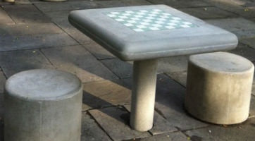Outdoor Cement Chess Table - Fixed Leg