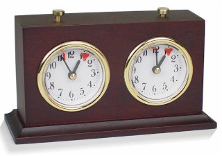 Chess Clock Dark Stained Wood Case with Base