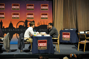 Magnus Carlsen Playing in a chess tournament in london