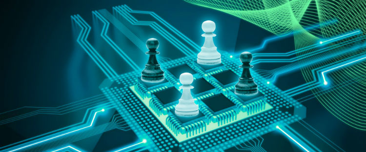 Chess Pieces On An electronic Component