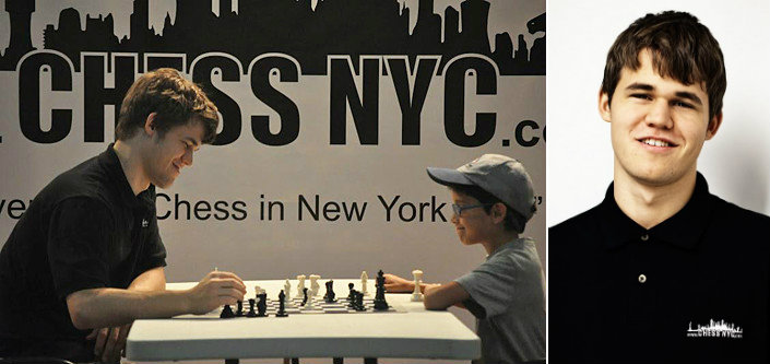 Magnus Carlsen visits in a Chess NYC chess camp.