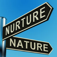 A Street Sign Pointing To Nature & Nurture