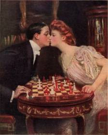 Painting of a couple kissing over a chess board