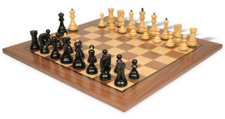 "Yugoslavia Staunton Chess Set in Ebonized Boxwood & Boxwood with Walnut Chess Board - 3.875"" King"