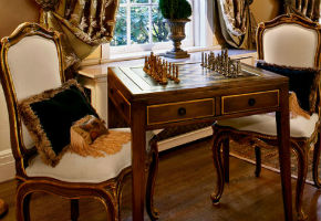 Chess Table With Pieces And Chairs