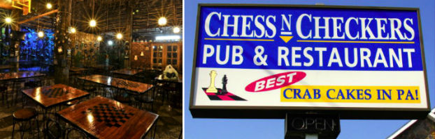 Pan de Amerika in downtown Manila, Philippines and Chess 'n' Checkers Pub and Restaurant in Allentown, Pennsylvania