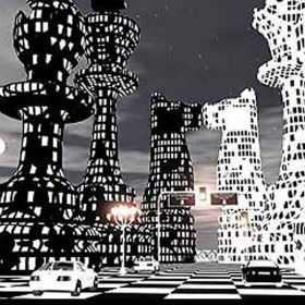 A simulation of the chess-themed city in Dubai