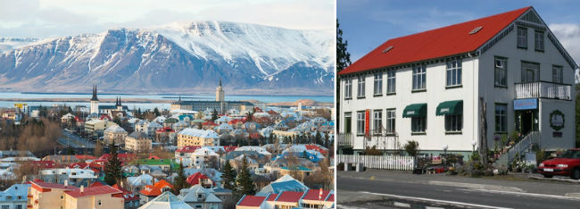 Reykjavik city and the Bobby Fischer Center in Selfoss, Iceland