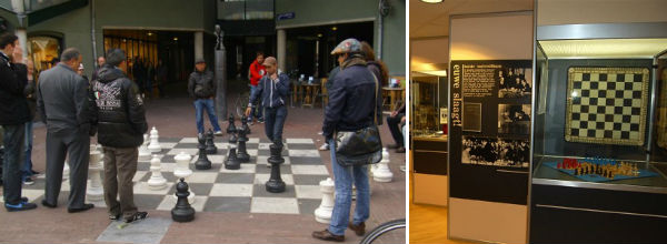 Enjoy a game of chess on the giant chess set at the Max Euwe Chess Museum