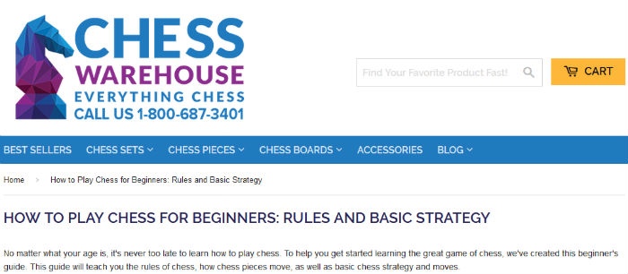 "ChessWarehouse ""How to Play Chess"" Page"