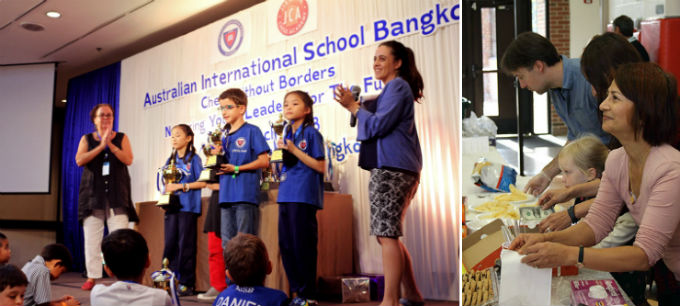 Chess without Borders in the Australian International School in Bangkok(left).Kiran Frey gathers donation during a Chess Without Borders activity (right).