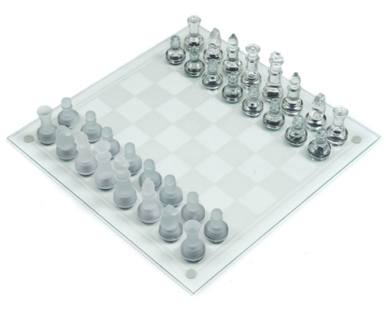 Classic Games Glass Chess and Checkers Set