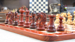 "Combo of American Adios Series Luxury Chess Set with Wooden Board in Bud Rose / Box Wood - 4.4"" King"