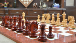 "Combo of Arabian Knight Series Artisan Staunton Chess Pieces in Bud Rose & Boxwood & Red Ash Burl Board - 4.2"" King"