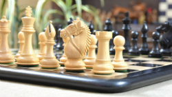 "Combo of Bridle Stained Dyed Series Chess Pieces & Wooden Chess Board in Dyed Box Wood - 4.0"" King"