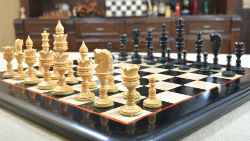 "Combo of Lotus Series Chess Pieces & Wooden Chess Board in Ebony & Box Wood - 4.3"" King"