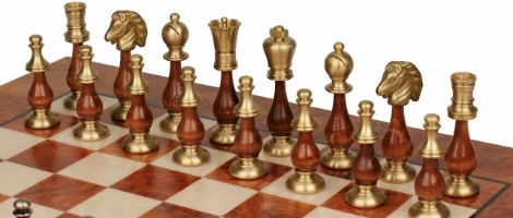 Large Contemporary Staunton Solid Brass & Wood Chess Set with Elm Burl Board