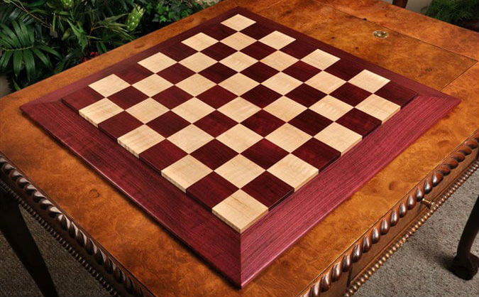 Custom Contemporary Chess Board – Purpleheart / Curly Maple