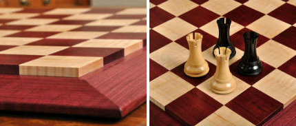 Custom Contemporary Chess Board Purpleheart Curly Maple