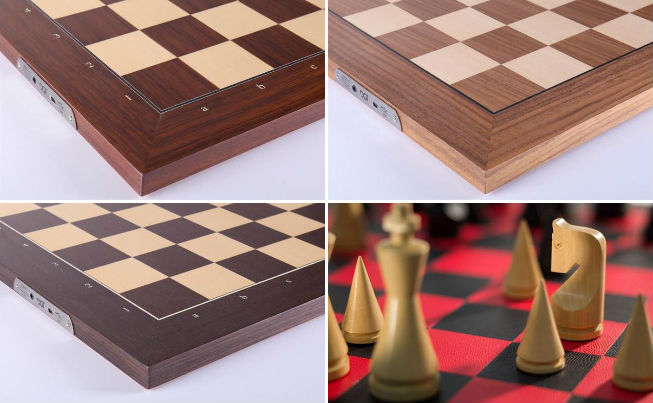 The DGT Electronic Chessboard is made out of Rosewood, Walnut & Maple, Wenge or Leather (Limited Edition).