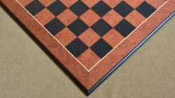 "Deluxe Chess Board Black Anigre Red Ash Burl Matte Finish with Moulded edges 24"" - 60 mm"