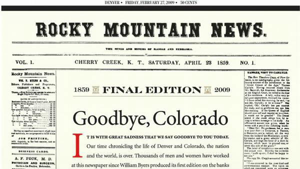 "The ""Rocky Mountain News"" Newspaper"