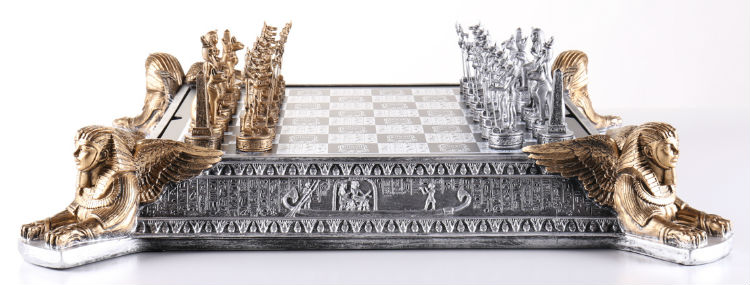 The Gold And Silver Egyptian Chess Set