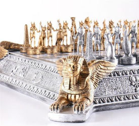Gold and Silver Egyptian Chess Set – 3″ King