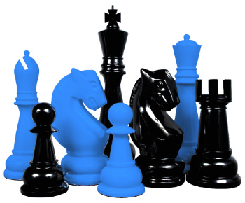 MegaChess Fiberglass Giant Chess Set - Custom Colors and Designs - Blue and Black