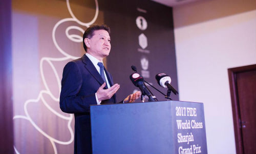 Fide president Kirsan Ilyumzhinov at the grand opening ceremony of the 2017 Fide World Chess Sharjah Grand Prix