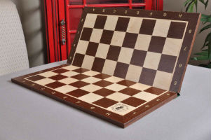 "Folding African Palisander & Maple Wooden Chessboard - 2.25"" with Notation & Logo"