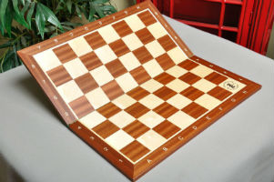 "Folding Mahogany & Maple Wooden Chessboard - 2.25"" with Notation & Logo"