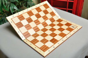 "Folding Maple & Mahogany Wooden Chessboard - 2.25"" with Notation & Logo"