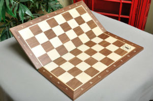 "Folding Walnut & Maple Wooden Chessboard - 2.25"" with Notation & Logo"