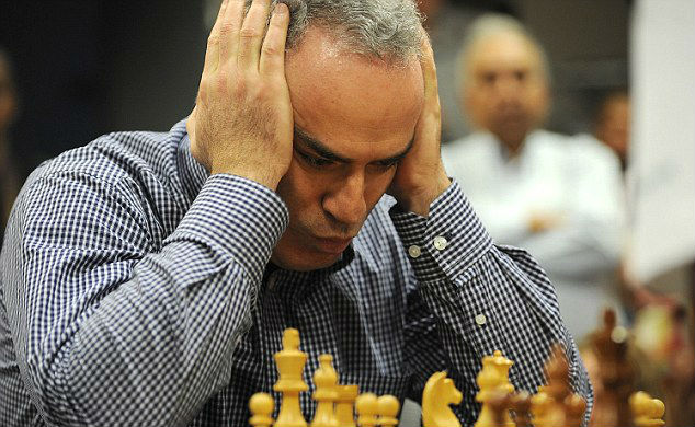 Garry Kasparov concentrates during a chess match