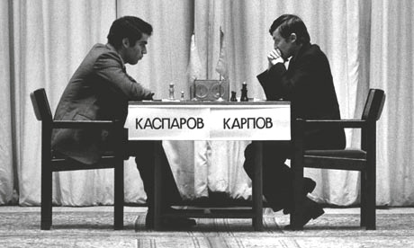 Kasparov Vs. Kaprov in the first match of the 1984's world chess championship.